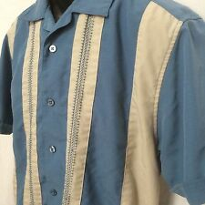 Cubavera Retro Lounge Blue Ivory Embroidered Pattern Button Up Poly Shirt Mens S