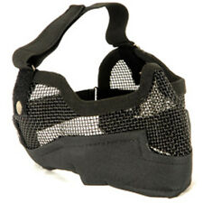 NEW AIRSOFT PAINTBALL TACTICAL METAL MESH HALF MASK w/ EAR PROTECTION BLACK