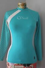 O'Neill Womens Longsleeve Rash Guard Swim Shirt 50+UV Teal Blue Skull Star Sz S