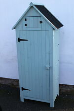 Outdoor Brighton Garden Wooden Storage Cabinet or Tool Shed In Sage Green