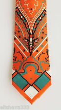 Etro Milano Mens Silk Tie Paisley Orange Dark Teal Blue Made in Italy Italian