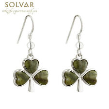 Irish Made in Ireland Rhodium Genuine Connemara Marble Shamrock Drop Earrings