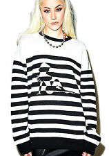 NEW NWT TRANZIT BLACK & WHITE STRIPE PULLOVER SWEATER ZIPPER SIDES FITS M - L