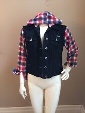 Furst Of A Kind LF Stores Black Distressed Denim Jacket Flannel Sleeves/Hood M