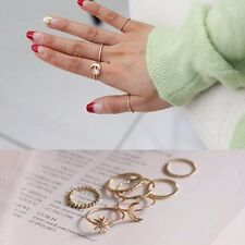 7pcs Set Thin Gold Tone Stack Above Knuckle Cute Sun & Moon Midi Band Ring Rings