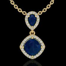 Genuine 3.50 CTW Sapphire & Micro Pave Diamond Certified Necklace De... Lot 8776