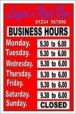 Business Hours Shop Sign Open Sign Closed Sign Opening Hours Sign