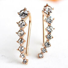Ear Crawler Earring Set Crystal 14k Yellow Gold Vine CZ Bar Cuff Climber New