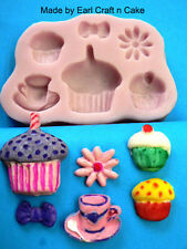 Cupcakes Tea Party Silicone Mould Make Cake Toppers Gum Paste Cake Decorating