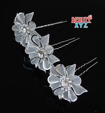 3 Pcs Wedding Bridal Prom Crystal Rhinestone Flower Bridesmaids Hair Pins