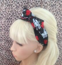 BLACK SKULL CHAIN RED ROSE PRINT BENDY WIRE WIRED HAIR HEAD BAND ROCKABILLY 50's
