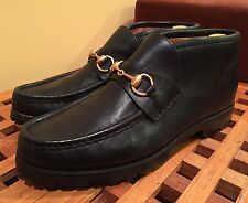 Vintage Gucci Mens Classic Gold Horsebit Leather Ankle Boots 8 D