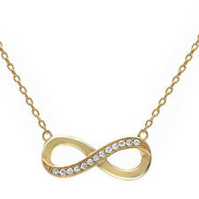 Yellow Gold Plated Cubic Zirconia Infinity Knot .925 Sterling Silver Necklace