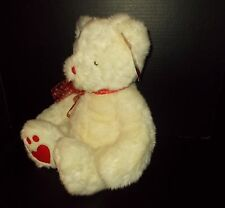 """Russ """"Heartley"""" Bear Plush Off White w/ Red Heart Bow, Heart Paws-18""""  with Tag"""