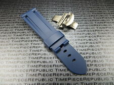 22mm Blue Rubber Diver Strap Deployment Buckle Watch Band PAM XB