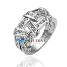 Silver Color 18k White Gold Plated Use Austria Crystal Cocktail Roma Ring Size Q