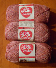 Red Heart Stardust Yarn Lot Of 3 Skeins (Coral #1253)