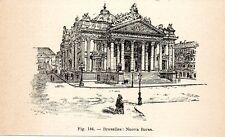 Stampa antica BRUXELLES Palazzo della Borsa 1910 Antique print Ancien gravure