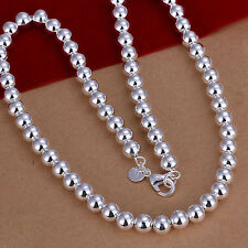 "NEW Free Shipping 925 Sterling Silver 8mm*20"" Hollow Beads Chain Necklace N111"