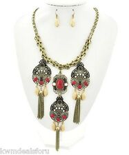 Ladies Fashion Jewelry Gold Red Coral Multicolor Necklace Fishhook Earrings Set
