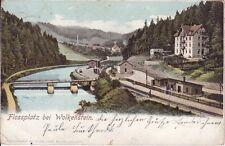 uralte AK, Flossplatz bei Wolkenstein Erzgeb. Bahnhof Bahnstrecke 1903