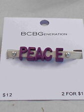 BCBG Purple Mini Coated Letters PEACE Off White Bone Affirmation Bracelet