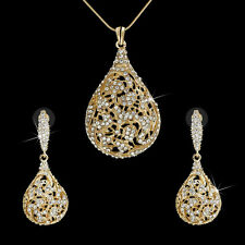 Indian Bridal Jewelry Set Gold Plated Dangle Ball Earrings+Necklace Crystal Gift