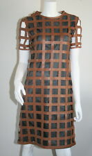 Miu Miu Vintage Mod Brown Leather Cut Out Short Sleeve Dress 40 4 6 S SM