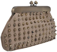 Studded Pleather Handbag Womens Stylish Fashion Snap Clutch Luxury Purse Bag