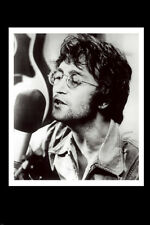 JOHN LENNON SINGING AT THE MIC poster RARE b/w former BEATLE 24X36-PW0