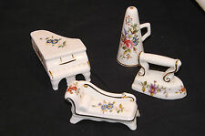 A Vintage Collection of Four Hammersley Bone China miniatures,Piano, Iron,Etc