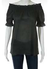 THEORY Dark Army Green Cotton Ruched Bust Short Sleeve Off Shoulder Blouse Sz S