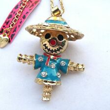Betsey Johnson flare crystal/blue enamel Lovely Scarecrow pendant Necklace