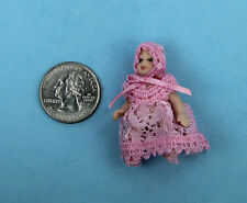 1/12 Scale Dollhouse Miniature Porcelain Baby Girl Doll Dressed in Pink #SDP156