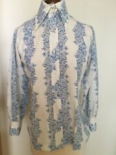 Vintage 1970' s Ladies hippy bohemian big collar floral shirt blouse 36""