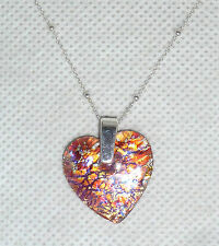 A HEART SHAPED MURANO FOIL GLASS PENDANT & SILVER CHAIN  - PINK