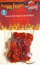 Dried Trinidad Scorpion Chili Pepper Pods .25 oz Hottest Pepper in the World