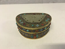 Antique Chinese Gilt Silver & Enamel Box w Jade Butterfly Inset on Top Turquoise
