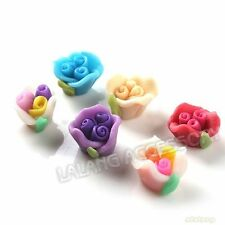 40pcs New Mixed Colorful Rose Flower Charms FIMO Clay Beads Fit Jewelry Making C