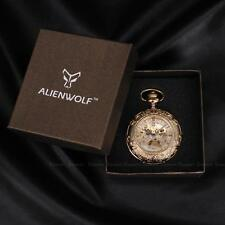 NEW Steampunk Gold Stainless Steel Hand-Winding Mechanical Pocket Watch