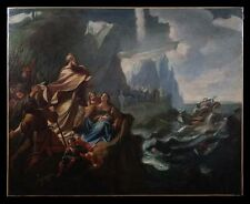 24x30 Early 19th C Allegorical Moses parting the Red Sea Religious Biblical