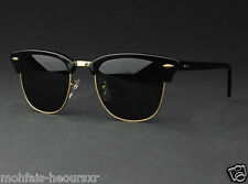 Clubmaster Sunglasses Black & Gold   Quality For Men & Women FREE LEATHER COVER