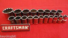 """CRAFTSMAN Socket Set 1/2"""" drive SAE STD 12pt 19pcs LASER ETCHED"""