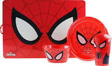 Childs Spiderman 4 Piece Dinner Set - Place Mat, Plate, Bowl And Cup