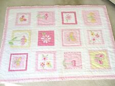 """Pottery Barn Kids Baby Quilted Crib Blanket Pink Green Yellow White 37"""" x 51"""""""