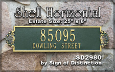 Whitehall Shell Horizontal Estate-Size Address Sign Personalized Plaque 17 Color