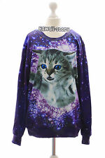 Ty-g188 CAT CHAT sky univers violet gothique punk sweatshirt pull Harajuku