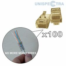 Innovative! 100 x rj45 cat5e CAVO DI RETE ETHERNET LAN A CRIMPARE Fine Connettore a Spina