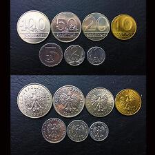 [B-5] Poland Set 7 Coins, 1+2+5+10+20+50+100 groszy, 1989-1990, UNC