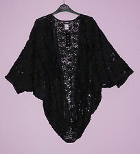 New-Black Sequin & Lace Evening Shrug-Batwing Sleeve-Open Front Jacket/Wrap-22